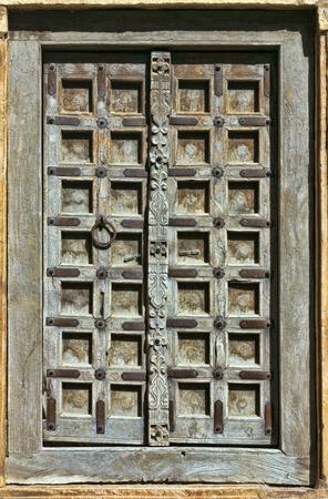east gate: Old wooden door. Rajasthan,India