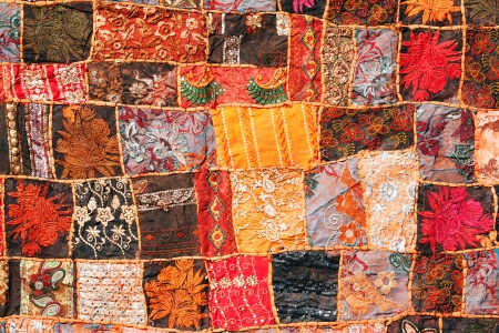 Indian patchwork carpet. Rajasthan, India, Asia