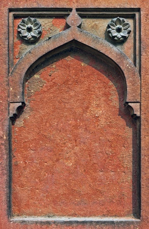 Decorative detail of stone carving in Agra Fort. Agra, Uttar Pradesh, India. Asia  photo