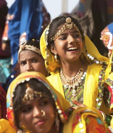 PUSHKAR, INDIA - NOVEMBER 21:  An unidentified girls in colorful ethnic attire attends at the Pushkar fair on November 21, 2012 in Pushkar, Rajasthan, India.
