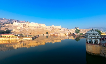 amber: Maota Lake and Amber Fort in Jaipur, Rajasthan, India, Asia