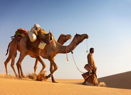 Sam, INDIA - NOVEMBER 28: Een onbekend kameel man leidt zijn kamelen over de Thar woestijn bij Jaisalmer op 28 november 2012 in Sam, Rajasthan, India.
