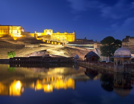 Amber Fort and Maota Lake at night   Jaipur, Rajasthan, India, Asia