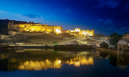 amber: Amber Fort at night. Maota Lake.  Jaipur, Rajasthan, India, Asia