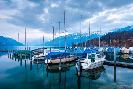oberland:    Yachts and boats on Lake Thun in the Bernese Oberland, Switzerland Stock Photo