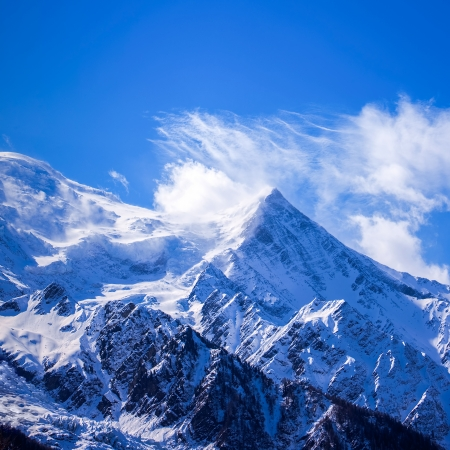 Mont Blanc  is the highest mountain in the Alps  It rises 4,810 m  15,781 ft  above sea level  Mont Blanc, Chamonix, French Alps  France  photo