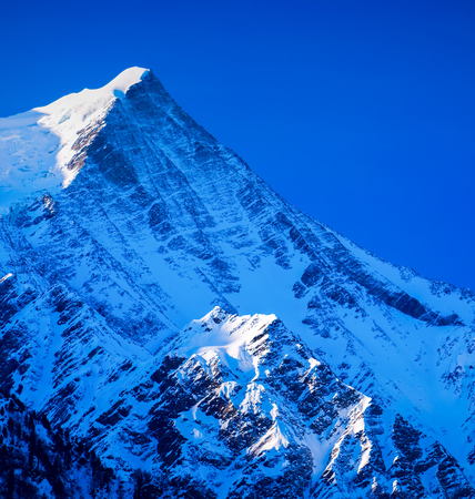Mont Blanc  is the highest mountain in the Alps. It rises 4,810 m (15,781 ft) above sea level. Mont Blanc, Chamonix, French Alps. France.