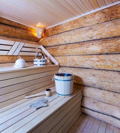 Interieur van een houten sauna