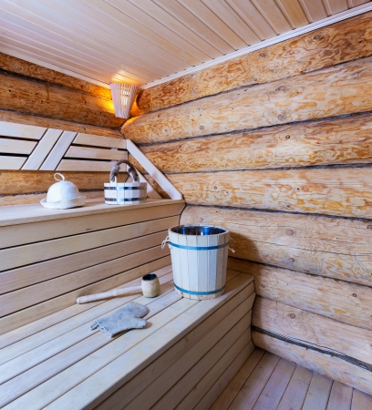 finland sauna: Interior of a wooden sauna