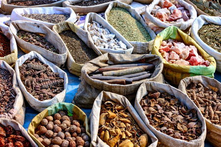 PULSE: Variety of spices in local market in Pushkar. Rajasthan, India, Asia