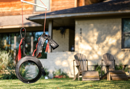primitivism: Horse Tire Swing front of the house