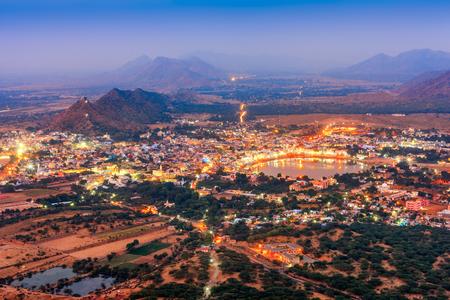 city night: Pushkar Holy City in anticipation of the night, Rajasthan, India, Asia