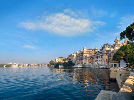 history: Lake Pichola and City Palace in Udaipur. Udaipur known as the City of Lakes,  Apart from its history, culture, and scenic locations, it is also known for its Rajput-era palaces. Rajasthan, India, Asia