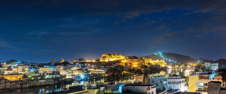 palaces: Udaipur, evening view of the city and City Palace complex. Udaipur, Rajasthan, India, Asia
