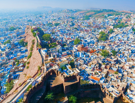 india culture: Jodhpur, the Blue City. View from Mehrangarh Fort. Rajasthan, India, Asia