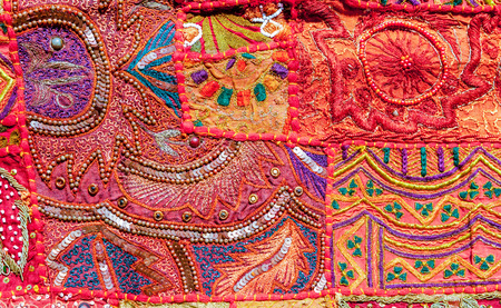embroidery: Indian patchwork carpet, Rajasthan, India, Asia