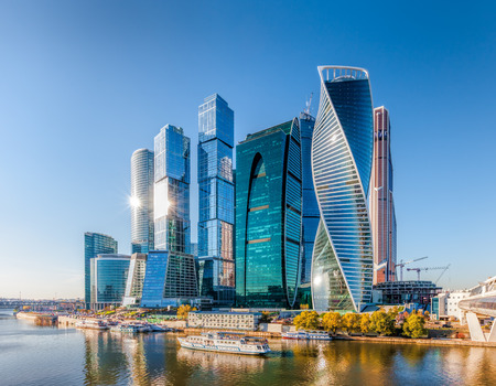 Moscow, Russia - October 21, 2015: Moscow City. View of skyscrapers Moscow International Business Center. 新聞圖片