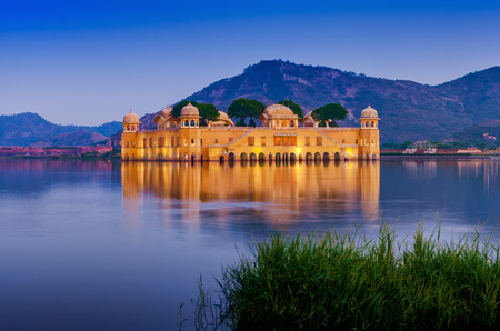 sagar: The palace Jal Mahal at night. Jal Mahal (Water Palace) was built during the 18th century in the middle of Man Sager Lake. Jaipur, Rajasthan, India, Asia Editorial