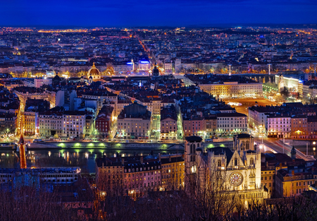 View of Lyon by night, France