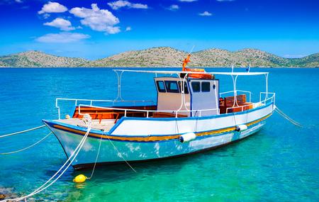 pleasure boat: Pleasure boat off the coast of Crete, Mirabello Bay, Greece Stock Photo