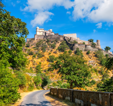 history architecture: Kumbhalgarh fort, Rajasthan, India.  Kumbhalgarh is a Mewar fortress in the Rajsamand District of Rajasthan state in western India and is known world wide for its great history and architecture.