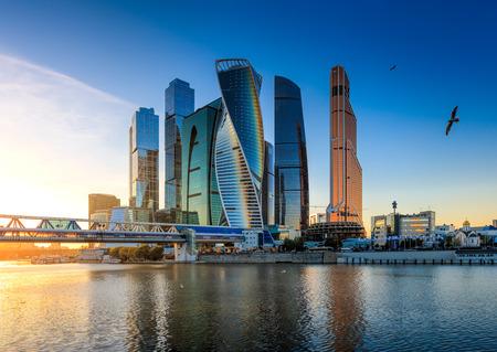 Moskou, Rusland - 21 oktober 2015: Moscow City. Uitzicht op wolkenkrabbers Moskou International Business Center.