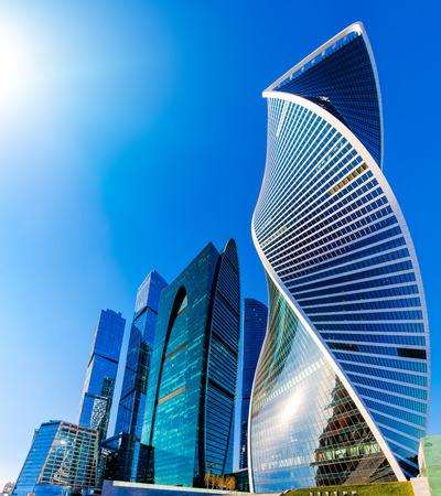 모스크바시 - 고층 빌딩 모스크바 국제 비즈니스 센터의 전망.