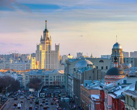kotelnicheskaya embankment: Moscow, view of the skyscraper on Kotelnicheskaya embankment and in the area of Ilyinsky gate. Stock Photo