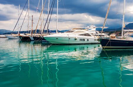 Yachts in the port of Agios Nikolaos, Crete, Greece