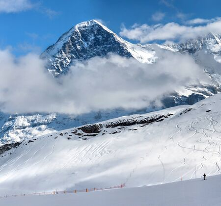 Mount Eiger and Ski resort of Grindelwald in Switzerland, The Eiger is a 3967-metre (13015 ft) mountain of the Bernese Alps