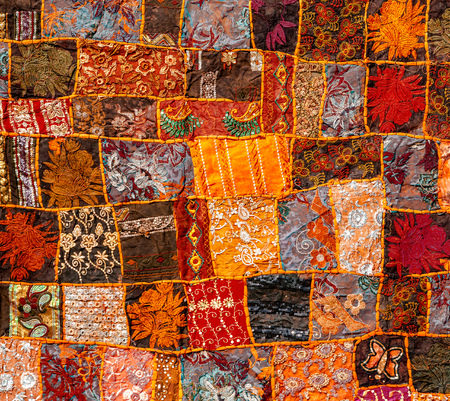 Old Indian patchwork carpet, Rajasthan, India, Azia Stock Photo