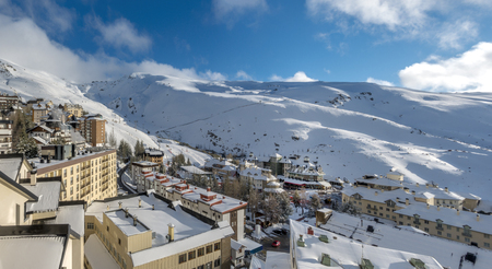 View of the ski resort in Sierra Nevada mountains in Spain
