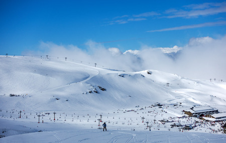 Ski slopes of Pradollano ski resort in Sierra Nevada mountains in Spain Редакционное