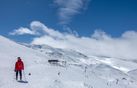 Ski slopes of Pradollano ski resort in Sierra Nevada mountains in Spain 写真素材