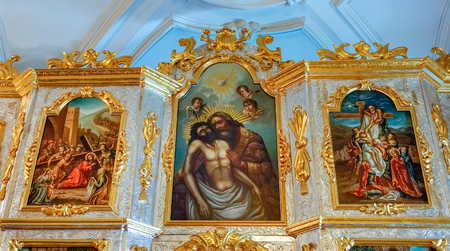 NEW JERUSALEM, ISTRA, RUSSIA - MARCH 9, 2019: Interior and decoration of the Resurrection Cathedral of the New Jerusalem Monastery, which was built in 1656-1685. Fragment of the iconostasis. Editorial