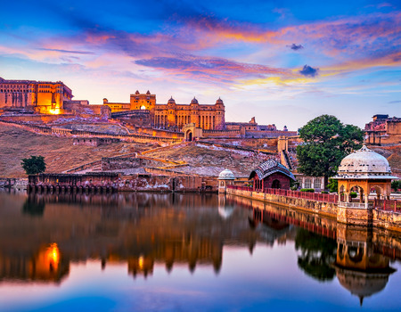 Amber Fort and Maota Lake at sunset.  Jaipur, Rajasthan, India, Asia