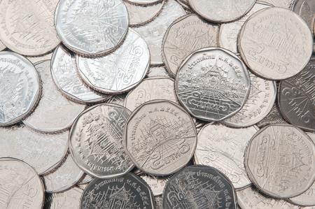 chrom: five baht coins, Thailand Stock Photo
