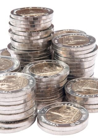 chrom: ten Baht coin stack, Thailand Stock Photo