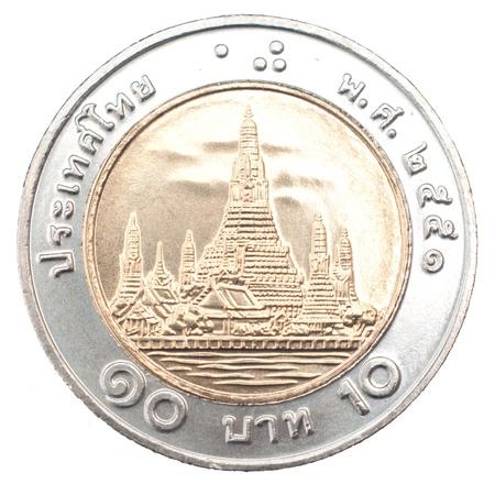 chrom: ten Baht coin, Thailand