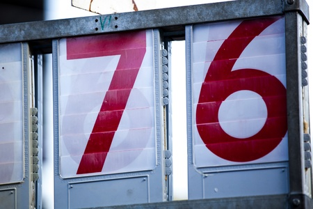 seventy two: Two digit numbers seventy-six in red Stock Photo