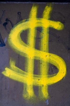 wand graffiti: Gelb Dollarzeichen Wand-Graffiti