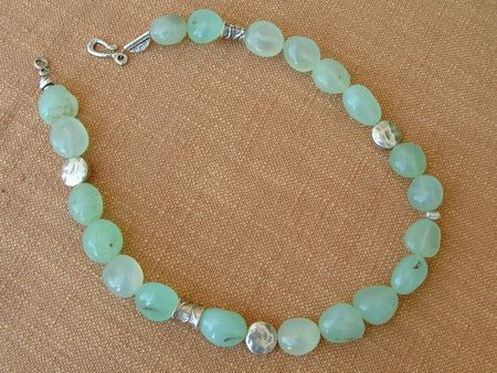 clasp: green  chrysoprase necklace with silver  beads and clasp