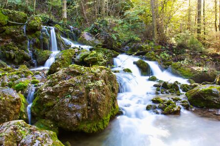 Waterfall in forrest with moss on rocks