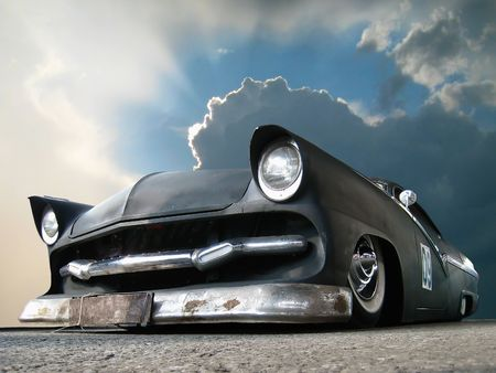 street rod: Custom made matt black show car and dangerous clouds