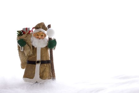 Golden Santa Claus with gifts bag