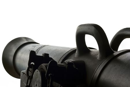 Dark brown ancient cannon detailed and isolated