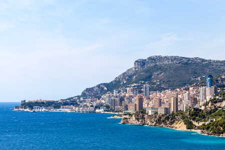 View to Monte Carlo and Larvotto in Principality of Monaco, French Riviera, France