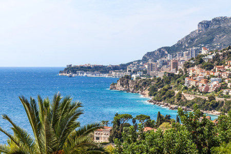 principality: View to Monte Carlo and Larvotto in Principality of Monaco, French Riviera, France