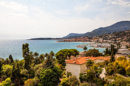 View to town Menton on French Riviera, Cote dAzur, France Stock Photo