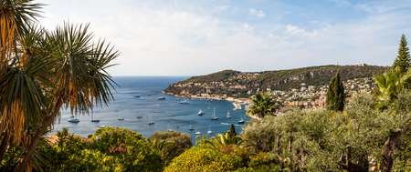 Villefranche-sur-Mer view from hills to bay, Cote dAzur, France